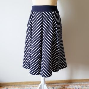 Philosophy Blue & White A-line Pleated Midi Skirt